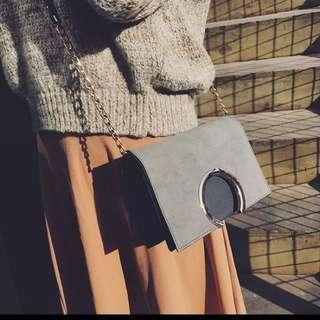 金屬圓環 皮 拼色 肩背 鏈條 方包