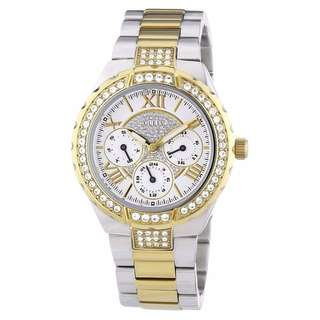 W0111L5 - NEW GUESS WOMEN SILVER DIAL CRYSTALS TWO TONES BAND DRESS WATCH