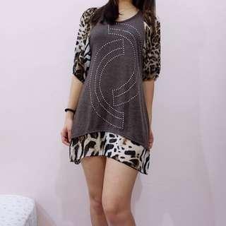 Leopard Sleeves Dress