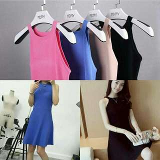 Sleeveless Solid Coloured Dress