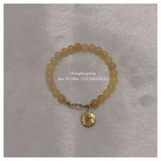 Citrine Stone Bracelet W/ St. Benedict Charm