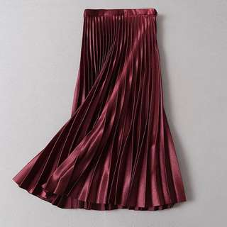 OshareGirl 02 歐美金屬感光澤百褶裙