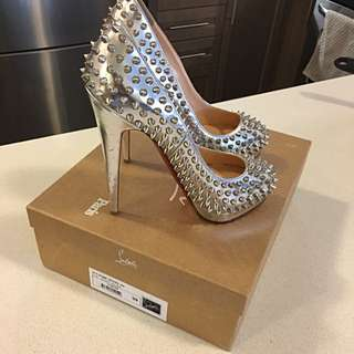Christian Louboutin Spike Pumps Silver