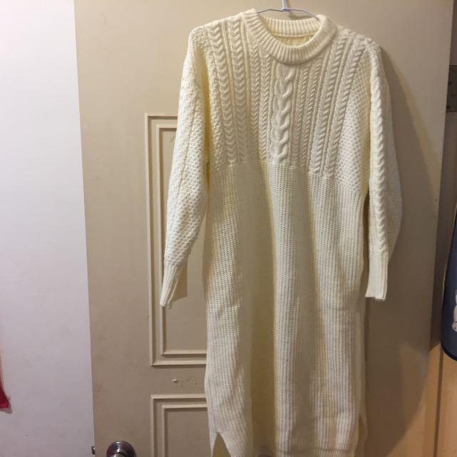 麻花編織口袋長毛衣洋裝