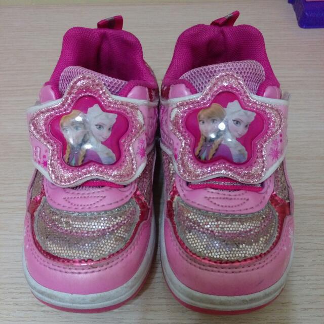 愛莎艾莎冰雪奇緣閃燈亮亮鞋迪士尼桃紅公主鞋
