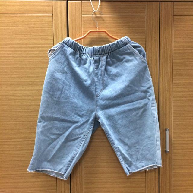 牛仔寬褲 牛仔短褲 淺色 破褲