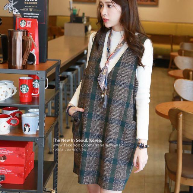 全新轉賣 正韓 Hana Lady 格紋款 雙口袋 拉鍊修身背心裙 顯瘦遮肚