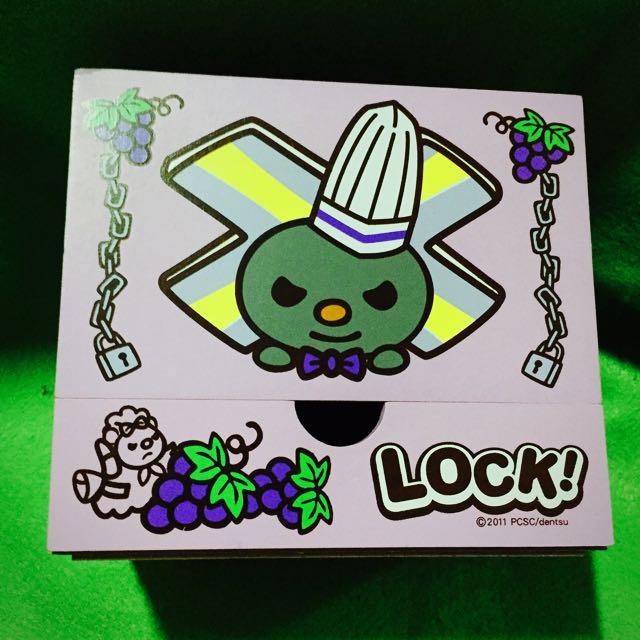 紫色 Lock將 木製小包抽取式衛生紙盒 附小抽屜
