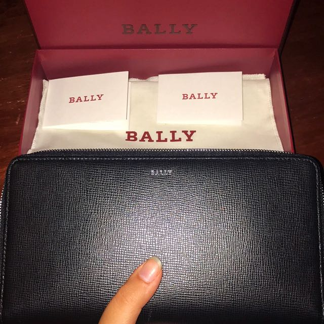 Authentic Bally Travel Wallet- Black Calf Leather