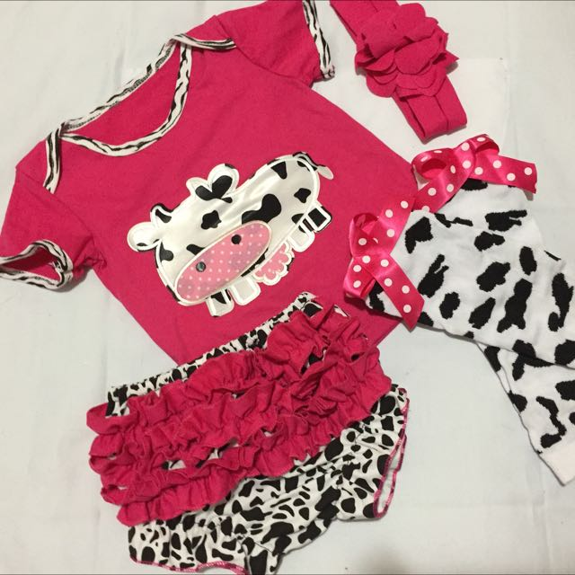 """Baby Girl's 4-Piece """"Cow"""" Outfit"""
