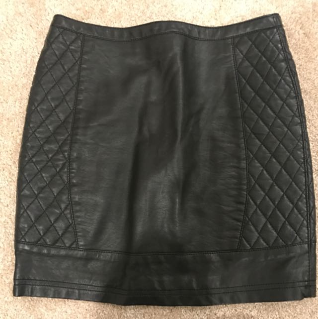 Black Leather Look Mini Skirt