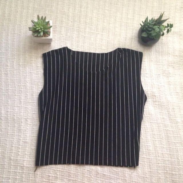 Black Pinstripe Top