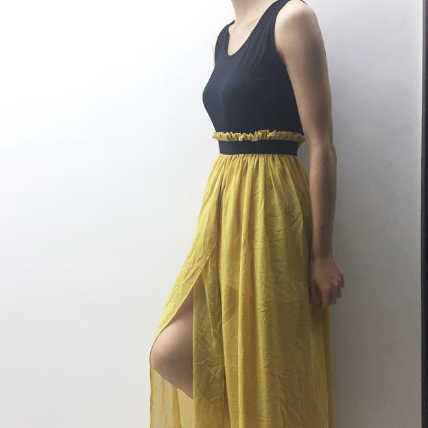 Black&Yellow Maxi Dress