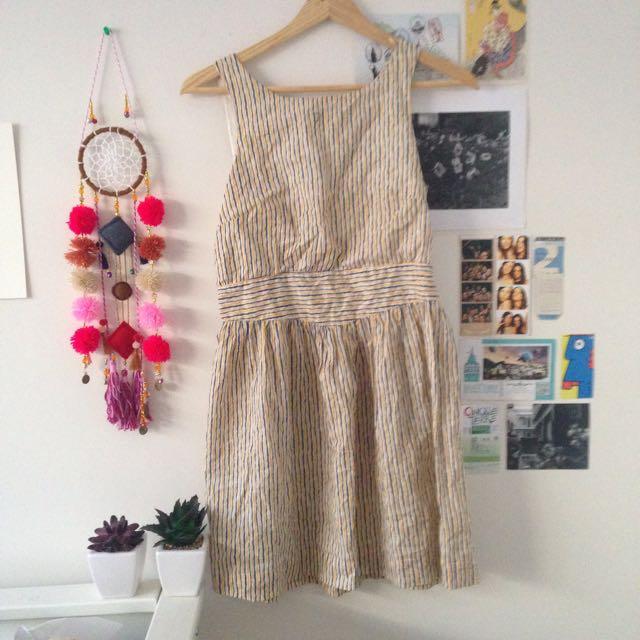Blue And Yellow Pinstripe Dress