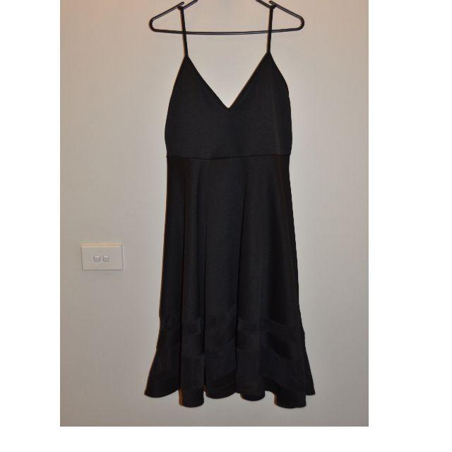 BOOHOO Black Midi Flare Dress