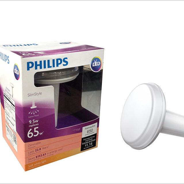 Brand new Philips 459552 65 Watt Equivalent Slim Style BR30 LED Dimmable Soft White Light Bulb!!