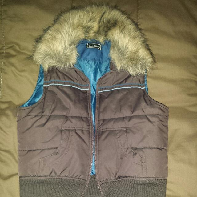 Brown Vest With A Fur Collar