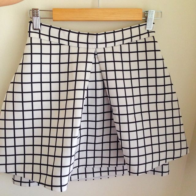 CAMEO Grid Skirt Black And White Size S