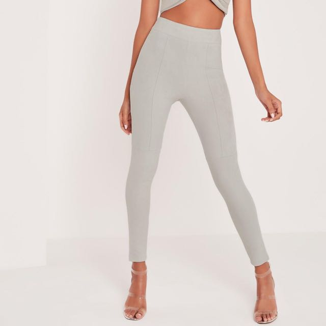 65a9e7e7ed26e9 CARLI BYBEL x MISSGUIDED carli bybel faux suede panel leggings grey ...