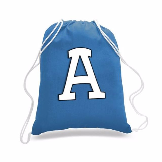 Drawstring Backpack with your initial on it.
