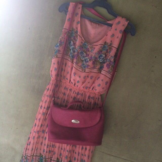 Floral Dress plus Secosana Sling Bag