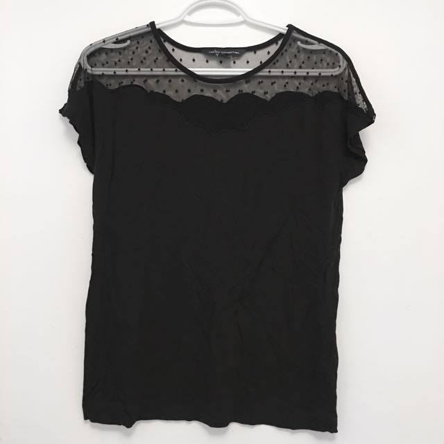 French Connection Top With Mesh Shoulders - Small