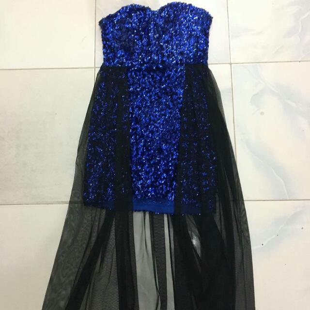 Fully Sequined Miniskirt Strapless Dress With Organza Skirt