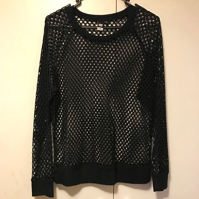 Glassons Fishnet Mesh Black Long Sleeve Top