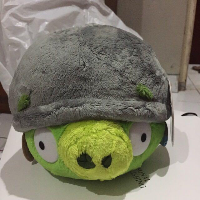 "Green Angry Bird 8"" Helmet Pig"
