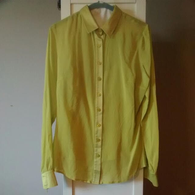 Guess by Marciano- Yellow Silk Top/Blouse