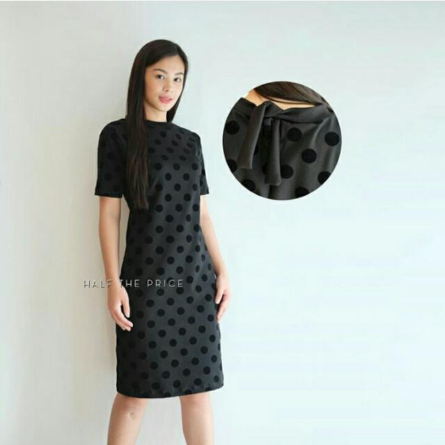 High Neck Polka Dress with Back Tie