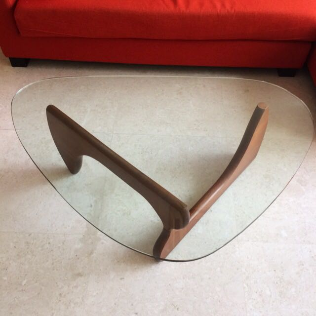 Isamu Noguchi Inspired Vintage Glass Coffee Table With Adjustable Wooden Base In Walnut Colour Furniture Tables Chairs On Carousell