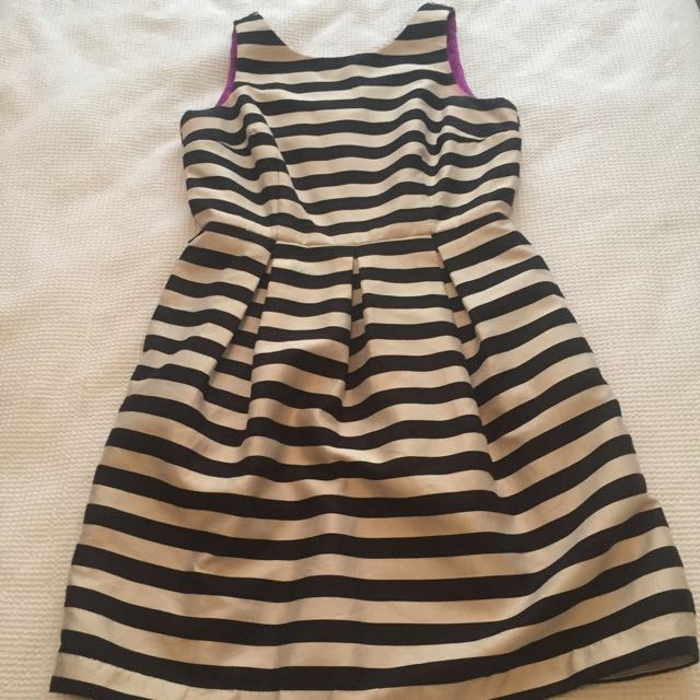 Ivory And Black Stripe Dress In US Size 6 (AUD Size 10)
