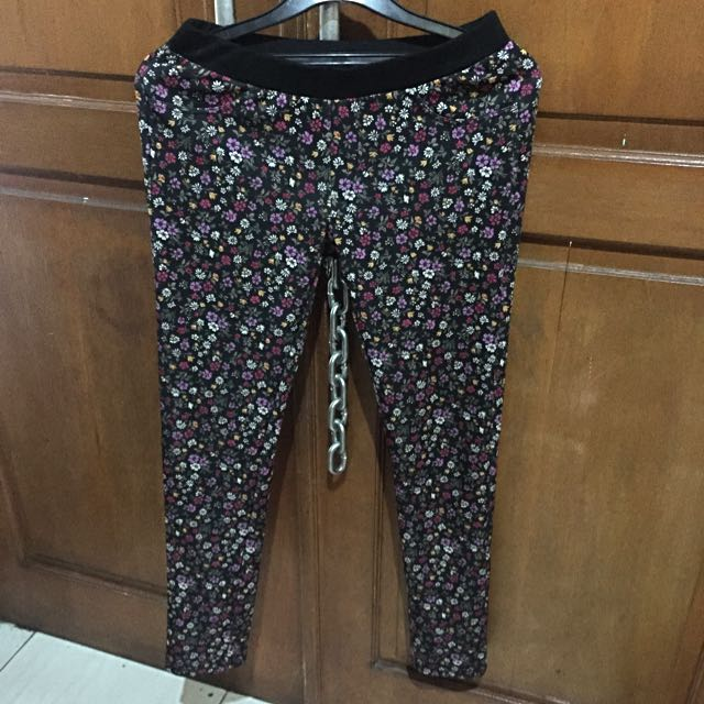 Legging Black Flowery