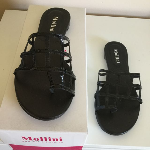 Mollini Black Patent Slip-on Slides