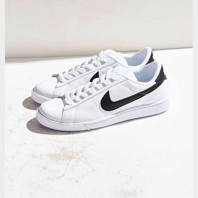 Nike 白底黑勾 白鞋 Tennis 阿甘