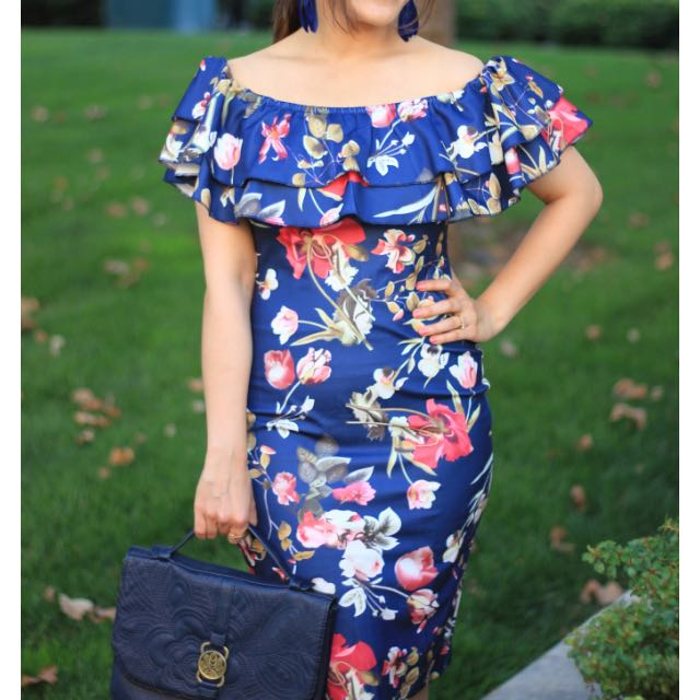 Off Shoulder Ruffle Sheath Dress