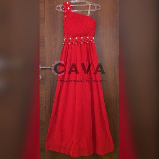 Party Bridesmaid Dress Longdress Gaun Pesta Merah Bridesmaids Off