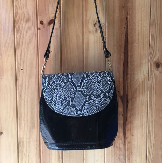 Patent Snakeskin Bag