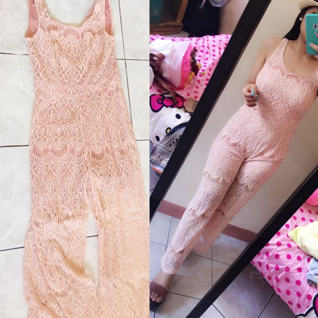 peach lace jumpsuit