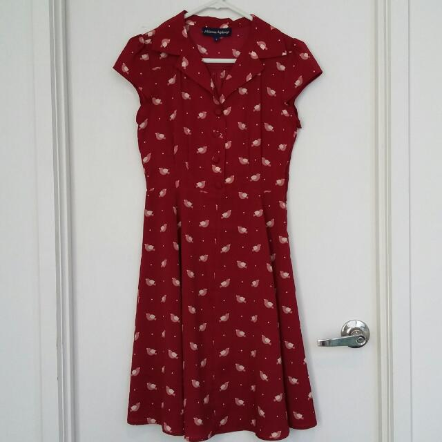 Princess Highway Bird Print Maroon Dress- Size 8