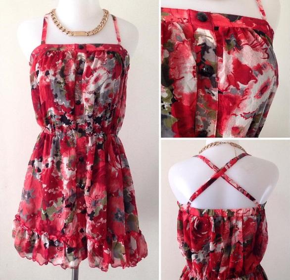 RED SLING FLOWER DRESS