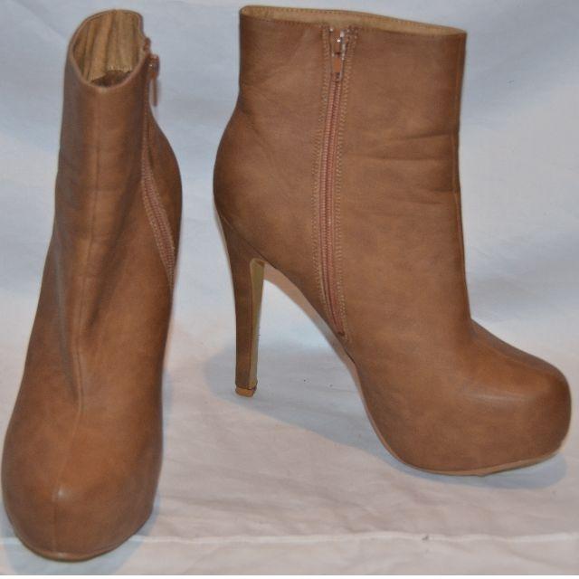RUBI Tan Ankle Boot Heels