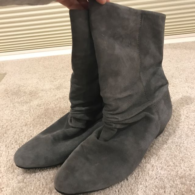 Sandler Grey Suede Slouch Ankle Boots