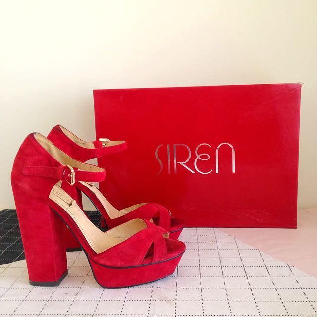 Siren Heels Red Strap Size 5.5