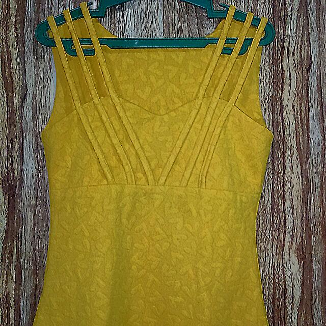 Sleeveless Yellow Casual Top