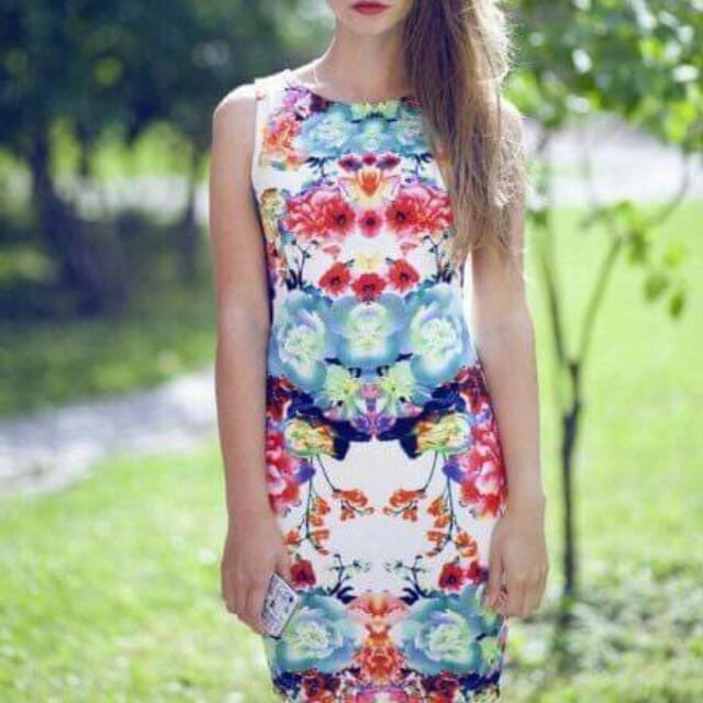 U.S Style 3D Print Floral Milky Cotton Bodycon Dress