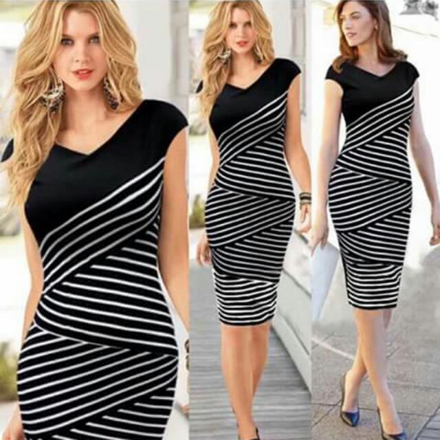 U.S Style Stripe Cotton Combined Formal Dress