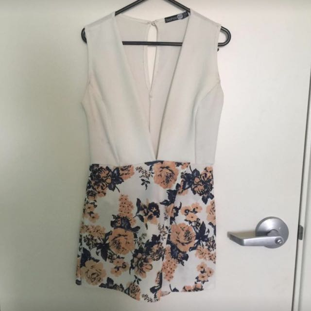 V Neck Half White Half Floral Short Dress