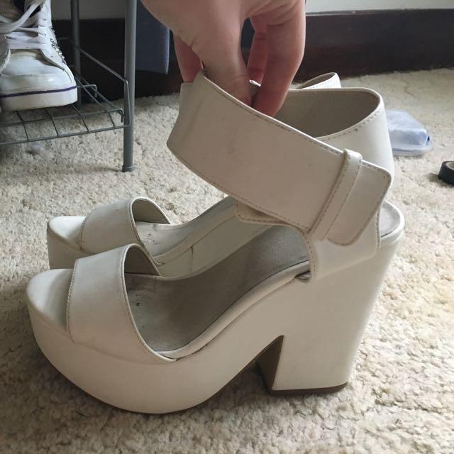 White Dotti Chunky Heels